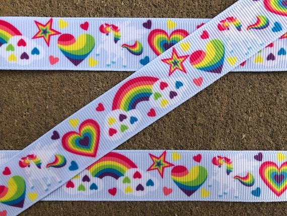 78  Unicorn Grosgrain Ribbon Rainbow Unicorns Ribbon DIY Hair Bow 3 yards Unicorn Ribbon
