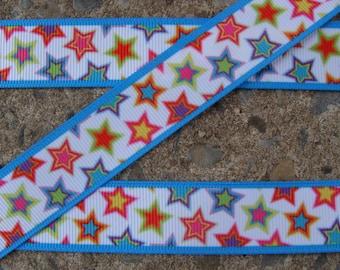 """3 yards Color Stars 7/8"""" Ribbon Printed Ribbon Hair Bow Ribbon Free Shipping Holiday Ribbon"""