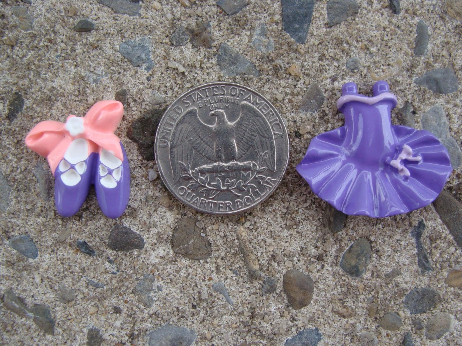 2 pink ballerina princess ballet tutu dress resin cabochon flatbacks flat back scrapbooking hair bow center crafts embellishment