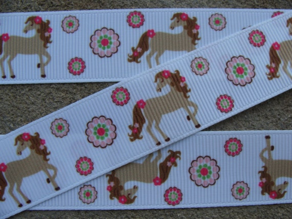 "1/"" 2 YARDS Country Girl Horse Grosgrain Ribbon Hair Bows Scrapbooks Crafts Cards"