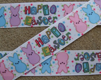 """7/8"""" Happy Easter Bunny Grosgrain Ribbon 3 yards color stars ribbon with Easter bunny"""