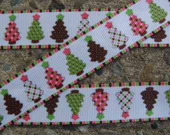"7/8"" Christmas Tree Ribbon 3 yards Grosgrain Ribbon Hair Bow Ribbon Christmas Ribbon Winter ribbon Holiday Ribbon #001"