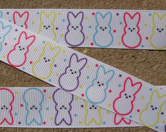 """7/8"""" Bunny ribbon Easter ribbon Happy Easter Bunny Grosgrain Ribbon 3 yards color stars ribbon with Easter bunny"""
