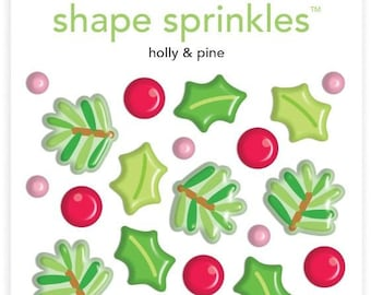 Doodlebug Sprinkles Shapes Glossy Enamel Stickers Holly Berries Christmas Epoxy