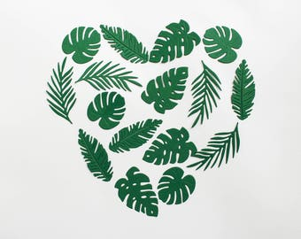 Tropical leaves die cuts - Paper leaves - green scrapbooking decor - wedding album decor - diecut palm monstera floral card making supplies