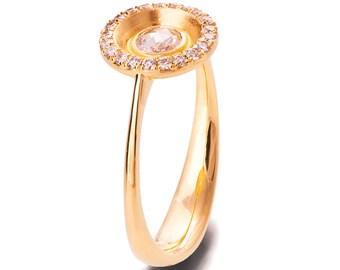 Rose cut diamond ring, Rose Cut Ring, Unique engagement ring , Rose Gold Engagement Ring, Art deco engagement ring, statement ring, r020