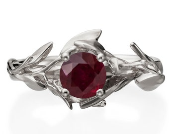 Leaves Engagement Ring, 18K White Gold and Ruby engagement ring, engagement ring, leaf ring, antique, art nouveau, July Birthstone