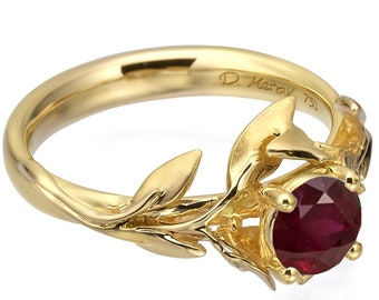 Leaves Engagement Ring, 18K Yellow Gold and Ruby engagement ring, unique engagement ring, leaf ring, antique, July Birthstone, Ruby