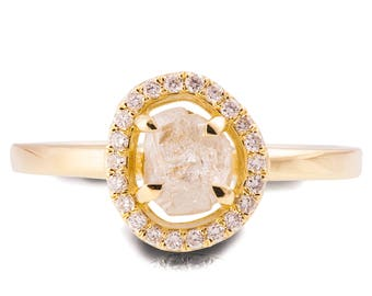 Raw Diamond Ring, 18K Yellow Gold Rough Diamond engagement ring, Unique Engagement ring, rough diamond ring, Raw Halo Ring