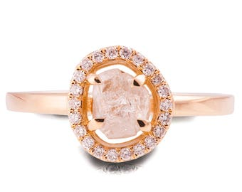 Raw Diamond Ring, 18K Rose Gold Rough Diamond engagement ring, Unique Engagement ring, rough diamond ring, Raw Halo Ring