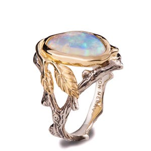 twig and leaf engagement ring opal engagement ring unique