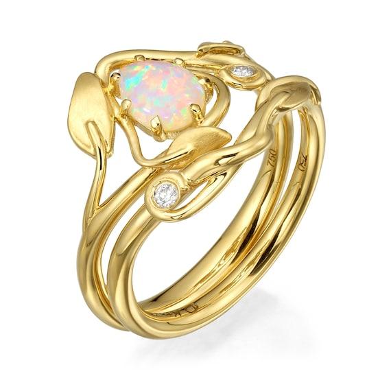 Opal Engagement Ring 18k Yellow Gold Opal Ring Opal Bridal Etsy