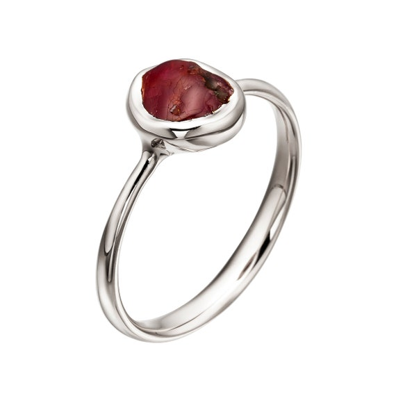 Raw Ruby Ring White Gold Ruby Ring Unique Engagement Ring Etsy