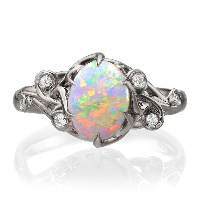 Statement Diamond Opal Engagement Ring 17 image 0