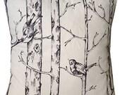 Designer new woodland winter tree black bird black white  cushion cover