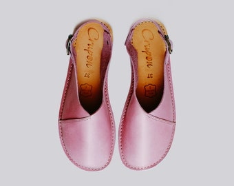 Pink Leather Sandals, Slingback Sandals, Slingbacks, Women Sandals, Pink Leather Sandals, Summer Sandals, Summer Shoes, Flat Sandals