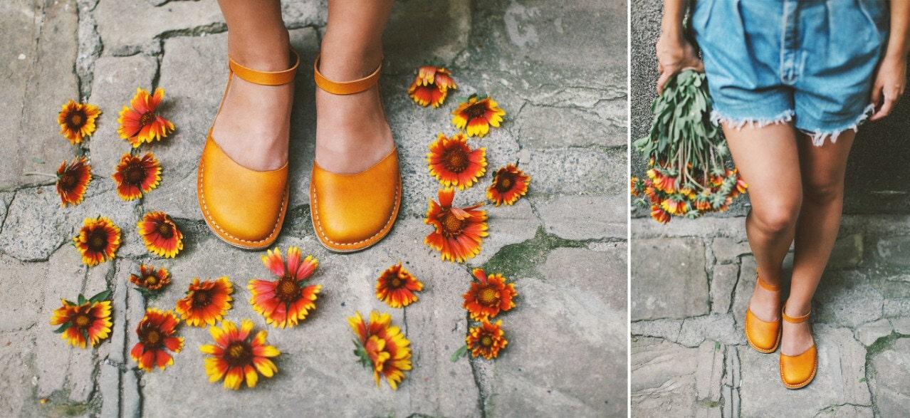 les femmes des sandales en cuir jaune, des sandales sandales sandales de couleur jaune, les chaussures d'été, chaussures femmes 124d76