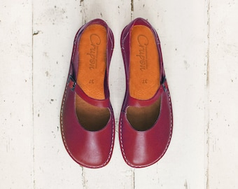 Women Shoes, Mary Jane Shoes, Flats Shoes, Handmade Shoes, Casual Leather Shoes, Women Leather Shoes, Wine Red Shoes, Burgundy Women Shoes