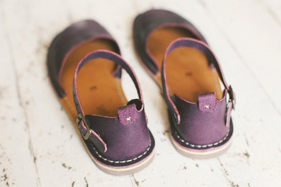 Sandals Toe Flats Sandals Shoes Slingback Leather Summer Eggplant Women Closed Sandals Sandals Sandals Summer Casual Summer vw88pxdqnU