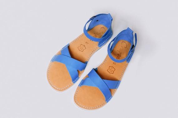 Leather Blue Sandals Women Sandals   Etsy