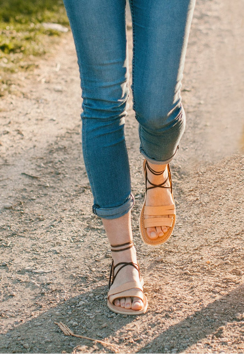 427bcfd96a0 Camel Gladiator Sandals Lace up sandals Greek Sandals
