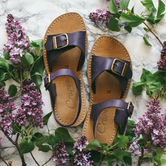 Sandals Aubergine Foot Narrow Buckle Sandals Sandals Women Sandals Summer Shoes Sandals Wide With Foot Leather Sweet Customizable wgY8qx
