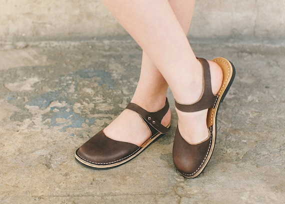 Women Flat Women Sandals Brown Flats Leather Summer Casual Sandals slippers Leather Flats Sandals Slippers Comfortable Sandals zdqBz