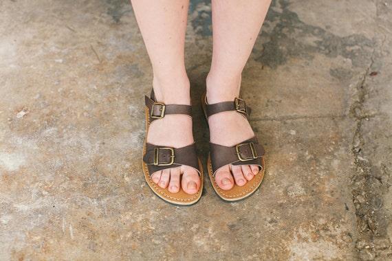 Sandals Feet Women's Summer Sandals Leather Leather Shoes Leather Shoes Sandals Flats Width Flat Brown Sandals Boho 1AzHTBwq