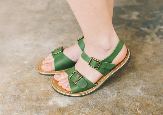 Shoes Leather Strappy Sandals Sandals Sandals Shoes Shoes Leather Greenery Women's Leather Women Flats Flat Sandals Summer Summer qqgw7Rr