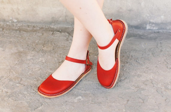 Women Sandals Toe Summer Shoes Peep Shoes Handmade Sandals Leather Summer Women Red Sandals Leather Jane Sandals Shoes Marry Xqw7gxzEE