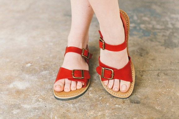 Sandals Sandals Sandals Summer Custom Women With Leather Foot Shoes Leather Red Summer Sandals Narrow Wide Foot Sandals Buckle npqZwzY1
