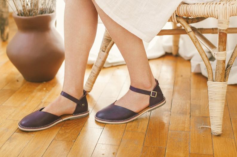 Summer Sandals, Leather Sandals, Women Sandals, Aubergine Sandals, Summer Flats, Closed Toe, Casual Sandals, Summer Shoes, Slingback