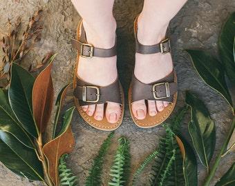 Leather Flats, Summer Shoes, Boho Sandals, Women's Shoes, Flat Leather Sandals, Brown Leather Sandals, Width Feet Sandals