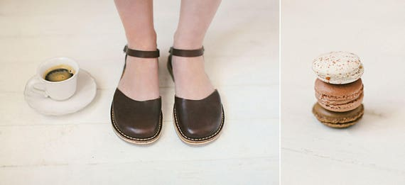 Flat Leather Shoes Brown Leather Shoes Summer Leather Handmade Sandals Flats Summer Women Shoes Sandals Brown Slingback Sandals qtpI8Fwq