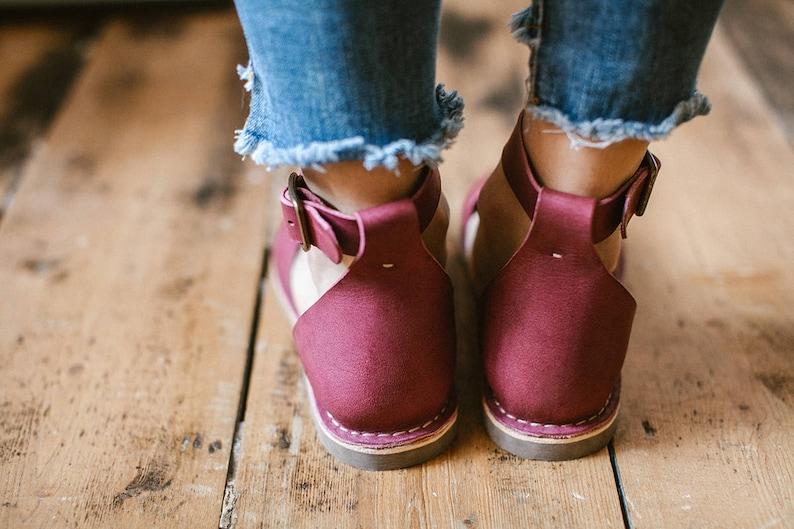 Women Leather Sandals Women Sandals Flat Shoes Marsala Leather Sandals Summer Shoes Loafers Summer Sandals Ankle Strap