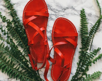 Gladiator Leather Sandals, Strappy Sandals, Greek Sandals, Red Leather Sandals, Leather Flats, Flat Leather Sandals, Summer Shoes