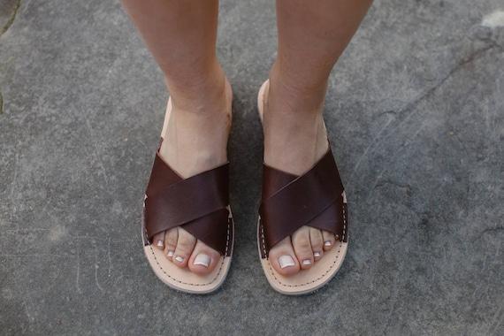 Sandales en chaussures tongs sandales cuir tongs femme en sandales Tongs d marrons cuir plates xEASqw78F