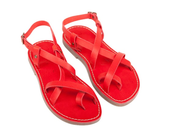 flats sandals Sandals Sandals Women Leather Strappy Greek sandals Gladiator Leather Red Sandals Sandals Gladiator Sandals Greek AgcfawpZqO