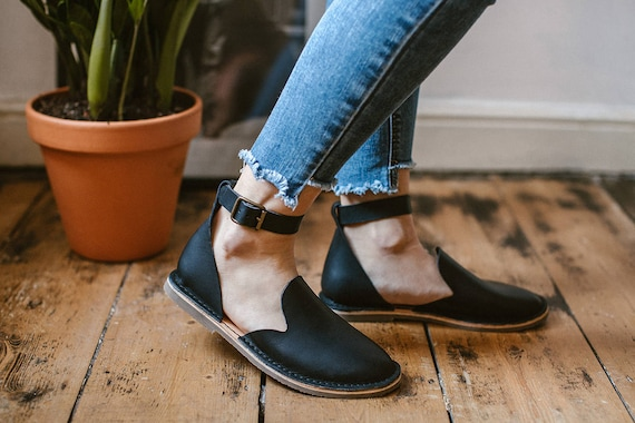 Shoes Shoes Leather Black Slip Closed Shoes Women Loafers Shoes Leather Strap Shoes Ons Black Black Ankle Flats Leather Flat toe 5Ivgw0x