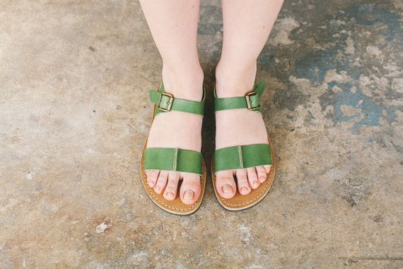 Ankle Shoes Women's Sandals Flats Sandals Sandals Strappy Boho Strap Shoes Summer Shoes Summer Summer Greenery rqvrAgS