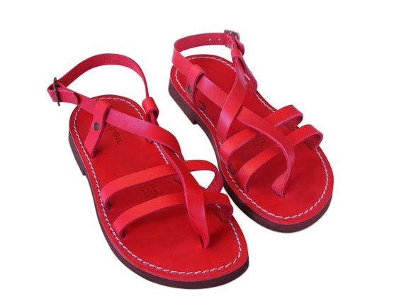 Greek Shoes Sandals Summer Leather women Gladiator sandals Flats Leather Sandals sandals Greek Gladiator Sandals Red Leather wZqHgOXX