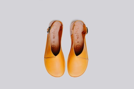 Leather Sandals Sandals Slingback Women Red Flat Shoes Summer Leather Dark Sandals Sandals Sandals Sandals Slingbacks Mustard Summer fdWAqpf