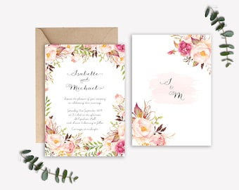 Love in Bloom watercolour floral wedding invitations, RSVP and belly band