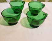 Vintage 1950s Fire King Anchor Hocking Forest Forest Green Punch Cups Set of 4