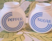 Vintage Fire King Vitrock Sugar and Pepper Shakers Bule and White