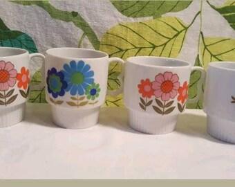 Vintage 1970s Floral Stacking Mugs Made in Japan