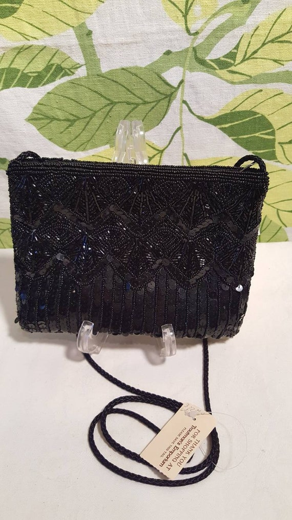 Vintage 1980s Black Beaded Evening Bag