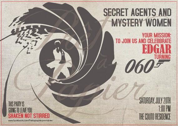 James Bond Party Invitation Etsy