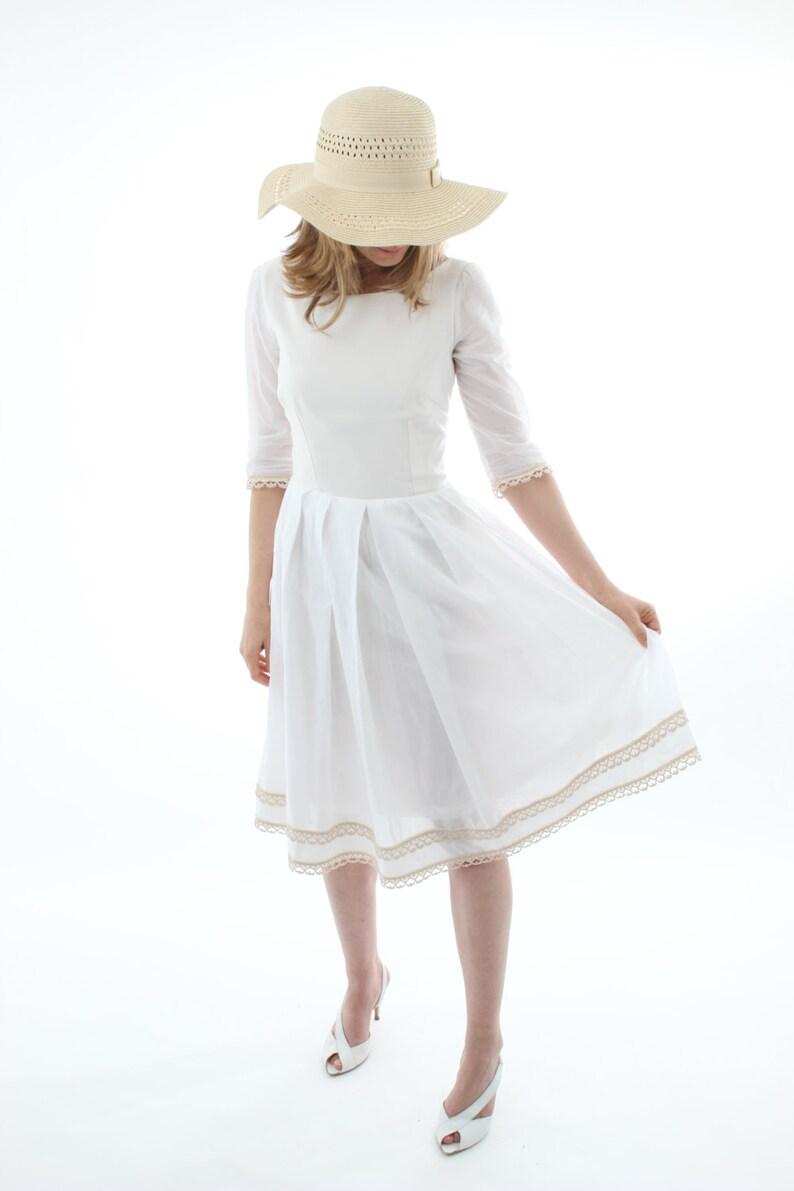 4acc57756 Organic cotton white dress 3 4 sleeves white cotton dress