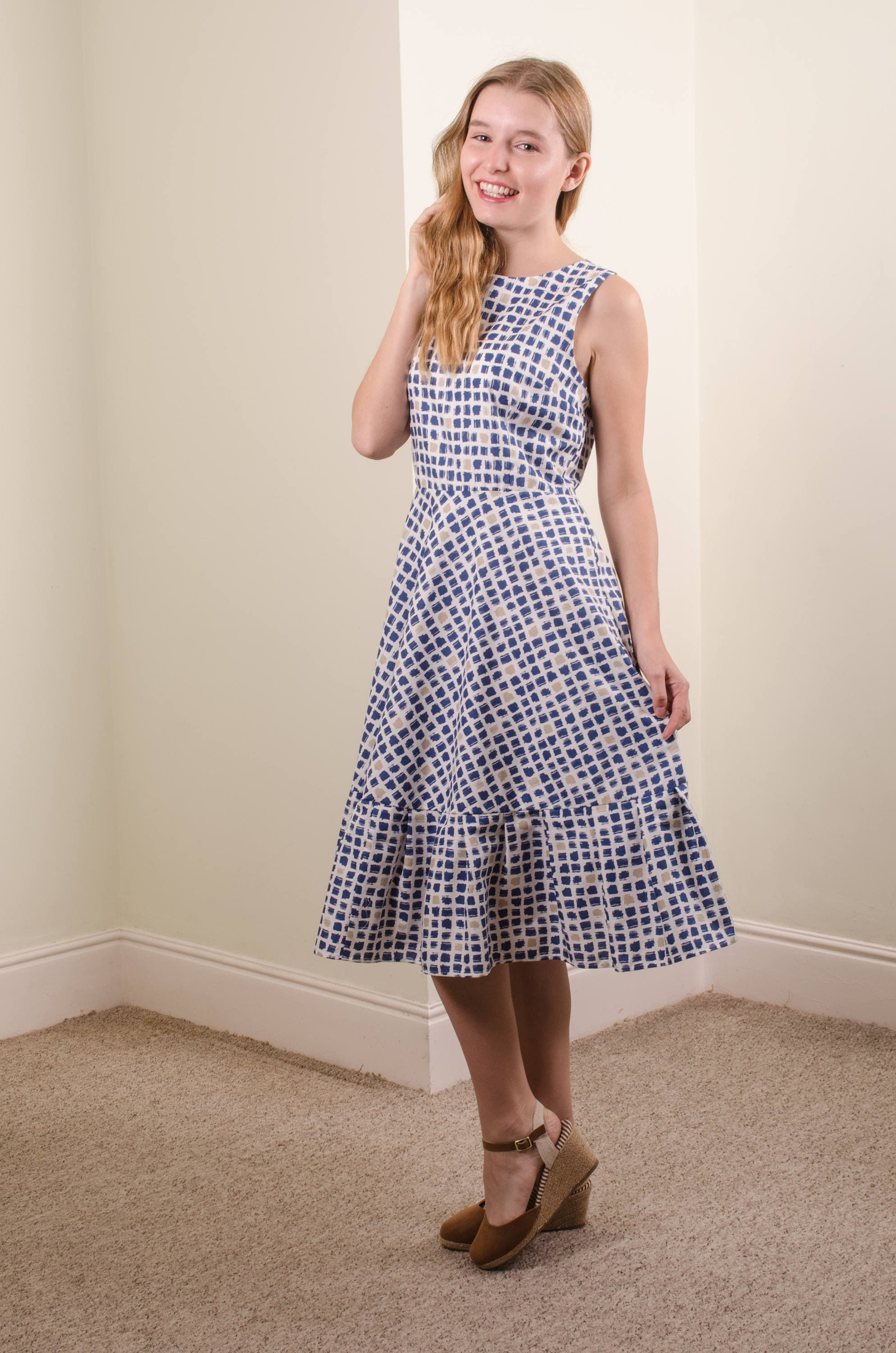 385a82819a Blue grey white checked organic cotton dress wedding guest